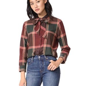 Madewell Tie Neck Plaid Button Up